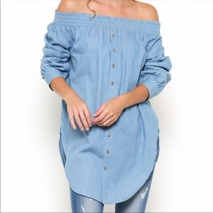 Esley Tops - New Chambray Off Shoulder Tunic
